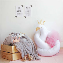 Newborn Baby Bed Bumper 190CM Infant Swan Pillow Bed Bumper Baby Crib Protection Fence Cotton For Kids Room Decoration Toys(China)