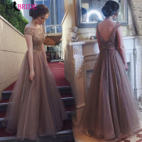 Apricot Elegant Evening Dresses Long A line Sexy Backless Evening Gown Women Dress Evening Party Special Occasion Dress ES2648