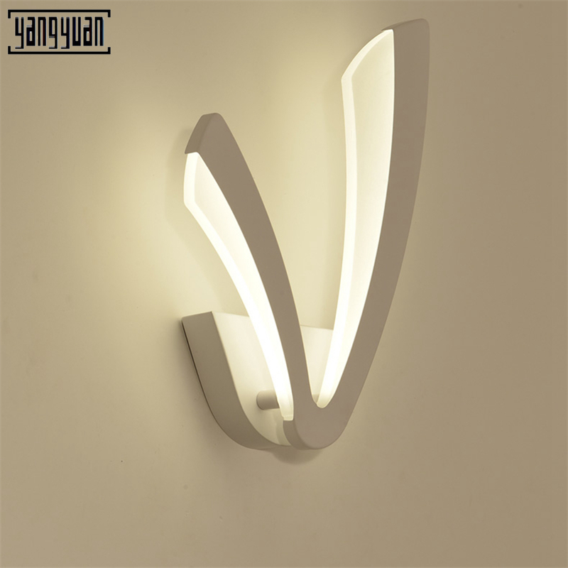 12W Acrylic Creative Modern Led Wall Light For Living Room Bedside Room Bedroom Lamp Wall Sconce Bathroom Wall Lamp White Lustre