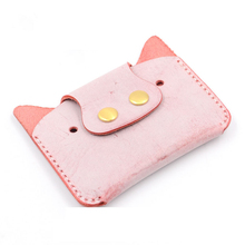 6 Colors of DIY Material Package True Leather Card Bag Cute Pig Shape Handmade Gift Coin Purse Needle Sewing Craft Kits