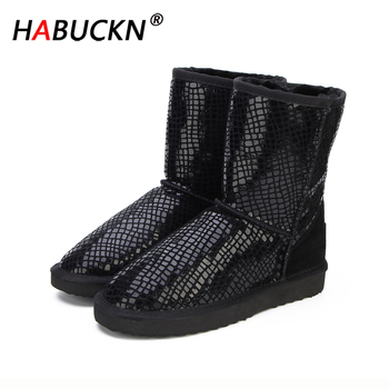 HABUCKN new Australia Classic Hot Sale Fashion Genuine Cowhide Leather Snow Boots Winter Fur Waterproof Women Shoes Botas Mujer top fashion 2018 real wool botas mujer high quality genuine sheepskin leather snow boots natural fur waterproof women shoes
