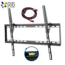 Soporte de montaje en pared para TV inclinable, para la mayoría de pantallas planas LED de 37 70 pulgadas, y LCD de Plasma, perfil bajo de hasta VESA 600x400, incluye Cable HDMI