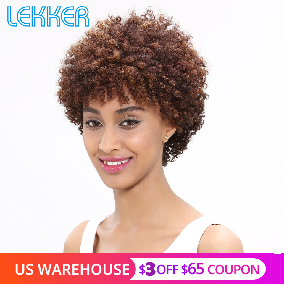 Lekker Wholesale Wigs Human Hair Short Curly Wigs For Black Women Brazilian Afro Kinky Curly Machine Made Ombre Human Hair Wigs