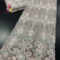 Vestido de boda de estilo francés hecho a mano, bordado de algodón nigeriano blanco con piedras, cuentas de lujo, buen precio, XZ3619