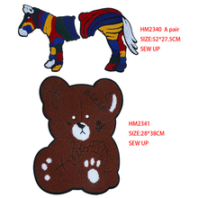 Cartoon decoration big patch cute colorful Horse Bear icon towel embroidered patch DIY iron badge backpack embroidered detail backpack with bear charm 4pcs