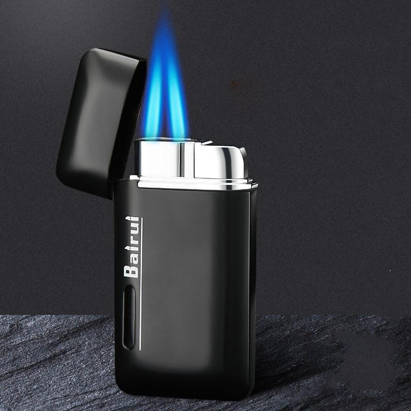 Металлическая струйная газовая зажигалка, огнеупорная мощная зажигалка с двумя фонариками, видимая газовая емкость для сигары, мощные ветр...