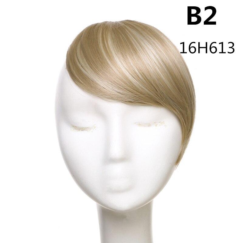 SARLA волосы челка клип в подметание боковая бахрома поддельные накладные взрыва натуральные синтетические волосы кусок волос черный коричневый B2 - Цвет: 16H613
