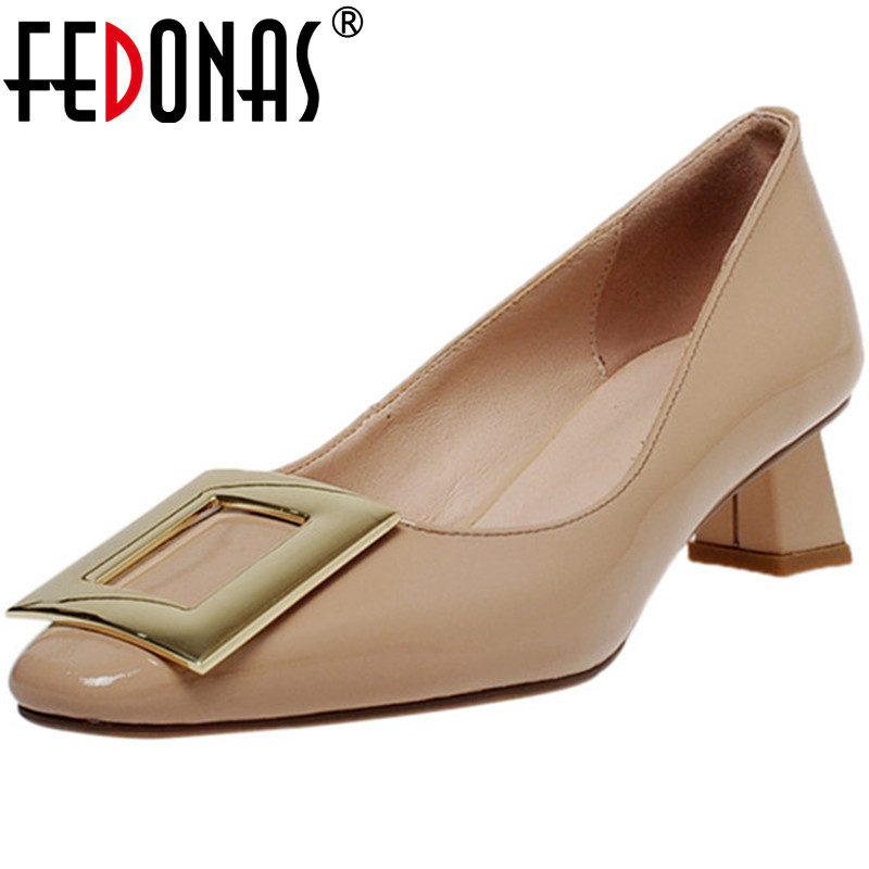 FEDONAS New Women Wedding Metal Decoration Square Toe Pumps Spring Summer Thick Heel Shoes Patent Leather Elegant Shoes Woman
