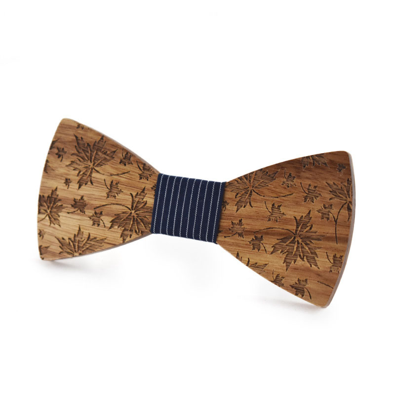 Handmade Wooden Bow Tie Fashion Adult Maple Leaf Carved Bowtie Men's Wedding Ceremony Party Novelty Simple Gifts Unisex One Size