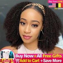 Afro crépus bouclés bandeau perruques 180% 200% 250% densité cheveux humains perruque bandeau gratuit pour les femmes noires Afro Curl Remy Jarin cheveux