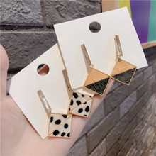 Fashion Leopard Geometric Square Jointed Earrings For Women 2019 New Jewelry Statement Pendientes Wholesale