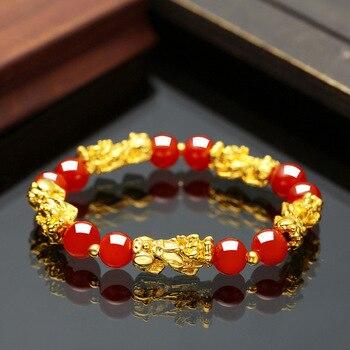 Feng Shui Obsidian Stone Beads Bracelet Men Women Unisex Wristband Gold Black
