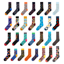 Happy-Socks Stripe Men Funny Long Fantaisie Cotton Brand-New Diamond Peonfly Chaussettes