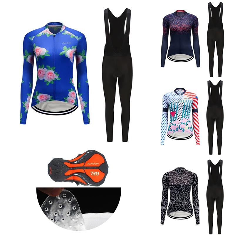 2021 Sun-Proof Long Sleeve Women Cycling Jersey Set Fashion Road Bike Clothing Kit MTB Dress Female Bicycle Clothes Suit Uniform