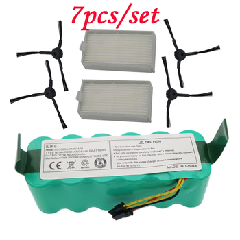 7pcs NI-MH 14.4V High quality Battery 3500mAh for panda X500 Battery for Ecovacs Mirror CR120 Vacuum cleaner for Dibea X500 X580 high quality vacuum cleaner parts pack for panda x500 ecovacs cr120 x600 side brush x 4pcs hepa filter x 2pcs