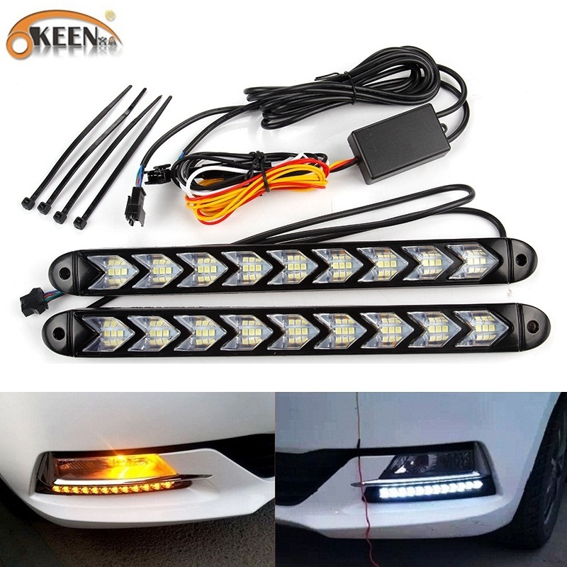 OKEEN 2pcs Universal Car LED Daytime Running Light Waterproof Headlight Strip Sequential Flow Yellow Turn Signal White DRL Light