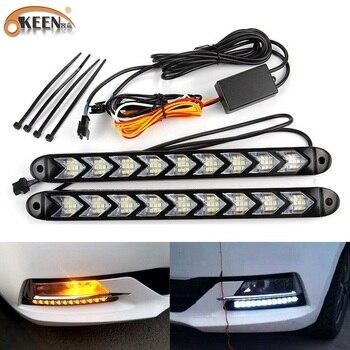 OKEEN 2pcs Universal Car LED Daytime Running Light Waterproof Headlight Strip Sequential Flow Yellow Turn Signal White DRL Light