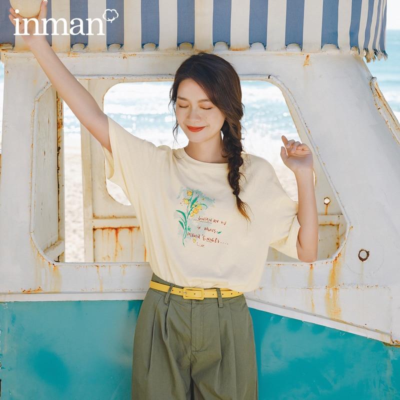 INMAN 2020 Summer New Arriavl Literary Round Collar Printed Loose Short Sleeve T-shirt