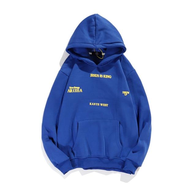 Jesus is King Kanye West  Letter Print Fleece Winter Hoodies Sweatshirt  2