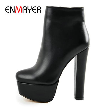 ENMAYER Womens Winter Fashion 2020 Basic PU Round Toe Square Heel Ankle Boots Women Zip Solid Platfrom Women Shoes Size 34-43