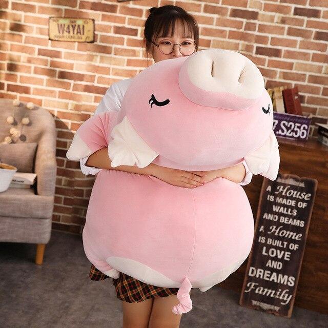 110cm HOT Giant Piggy Doll Pink White Lying Sleepy Plush Animal Toy Ultra Soft Squishy Down Cotton Stuffed Children Gift 2