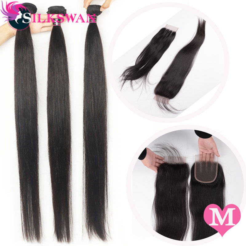 Silkswan Straight Hair Middle Ratio Peruvian Human Hair Bundles With 4x4 Lace Closure Remy Hair 4PCS/LOT 8-24 Inch Free Shipping