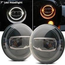 Новые автомобильные аксессуары, 7 дюймовая светодиодная фара s DRL Halo, желтый поворосветильник для Jeep Wrangler JK TJ CJ LJ Rubicon Sahara Unlimited