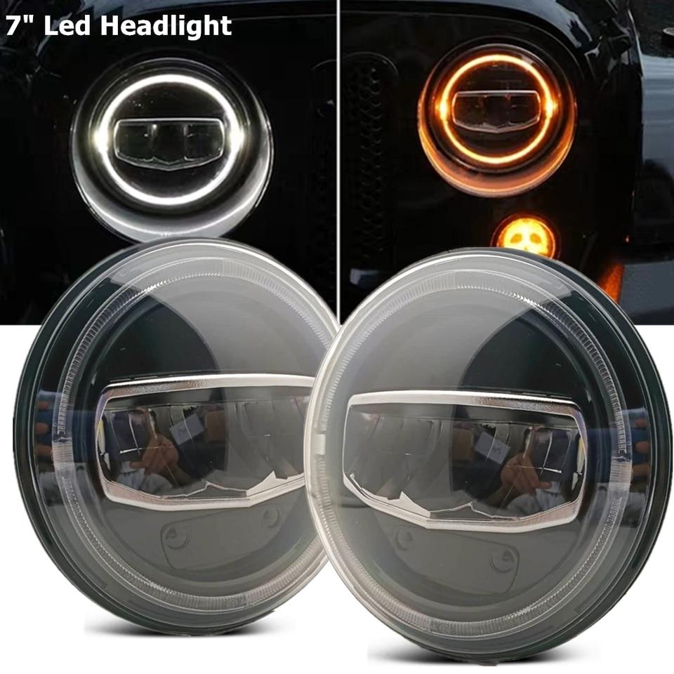 Wrangler 7inch LED Headlights with Halo Daytime Running Light DRL Turn Signal High Low Beam for Wrangler JK TJ LJ 1997-2019 Red Halo 2Pcs