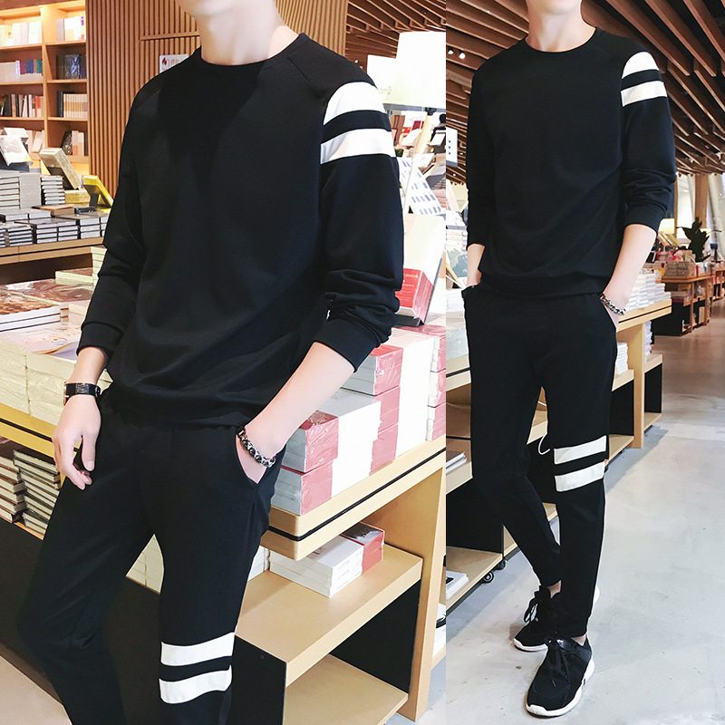 2019 Spring New Style T-shirt Trousers Two-Piece Set Fashion MEN'S Sport Suit
