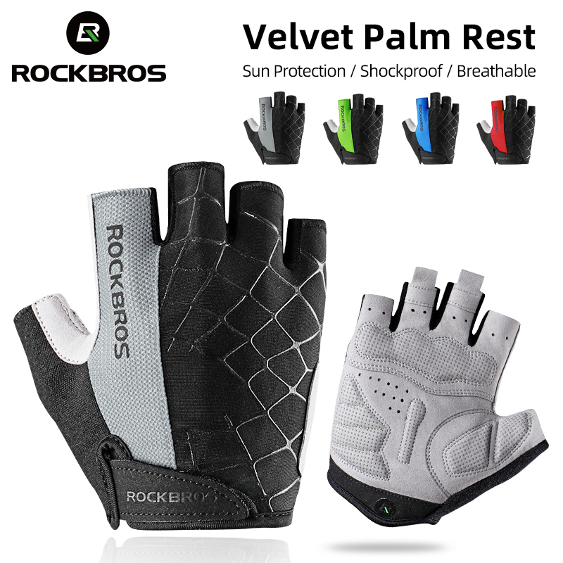 ROCKBROS Cycling Gloves Half Finger Shockproof Wear Resistant Breathable MTB Road Bicycle Gloves Men Women Sports Bike Equipment