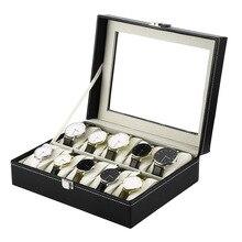 10 siatki zegarek uchwyt skrzynki PU skórzany zegarek Box wystawka do prezentacji zegarków Case prostokąt biżuteria pudełka do przechowywania wysokiej jakości FO sprzedaż