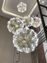 Golden Chandelier Nordic Dandelion Crystal Lamps Simple Modern Luxury Creative Staircase New Dining Hall Lamp
