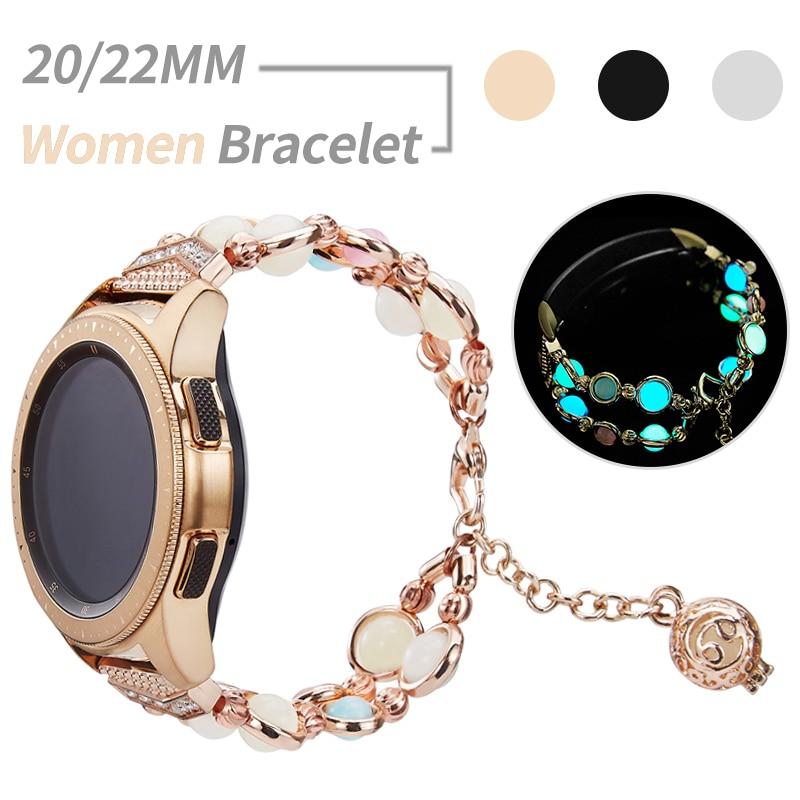 20mm 22mm Strap Women Pendant Bracelet For Samsung Galaxy Watch 46mm/42mm/Active 2 1/Gear S3 Band Glow In The Dark Metal Belt