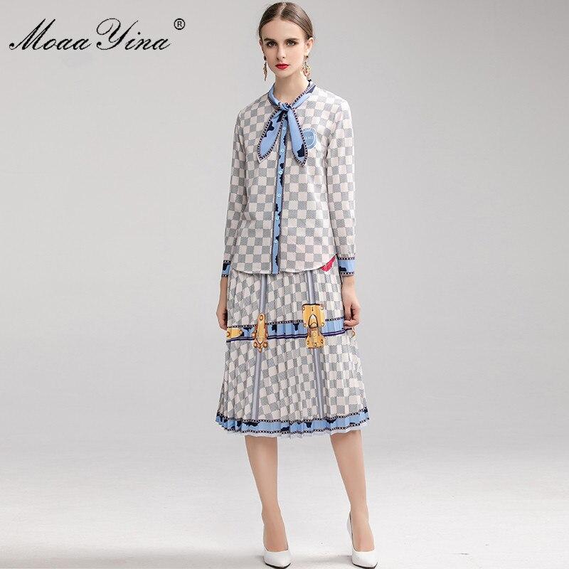 MoaaYina Fashion Designer Suit Spring Autumn Women Long Sleeve Plaid Print Shirt Tops+Pleated Skirt Elegant Two-piece Set