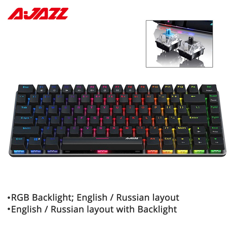 Gaming Keyboard Gaming Mechanical Keyboard Backlight USB Wired 87 Key English//Russian Keyboard for Computer Gamer Keyboard Axis Body : Blue Switch, Color : Black