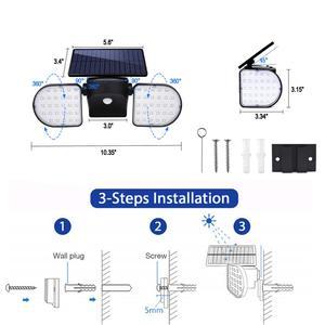 Image 4 - Solar Lights Outdoor 56 LED Solar Wall Lights with Motion Sensor Dual Head Spotlights 360° Adjustable Solar Motion Lights