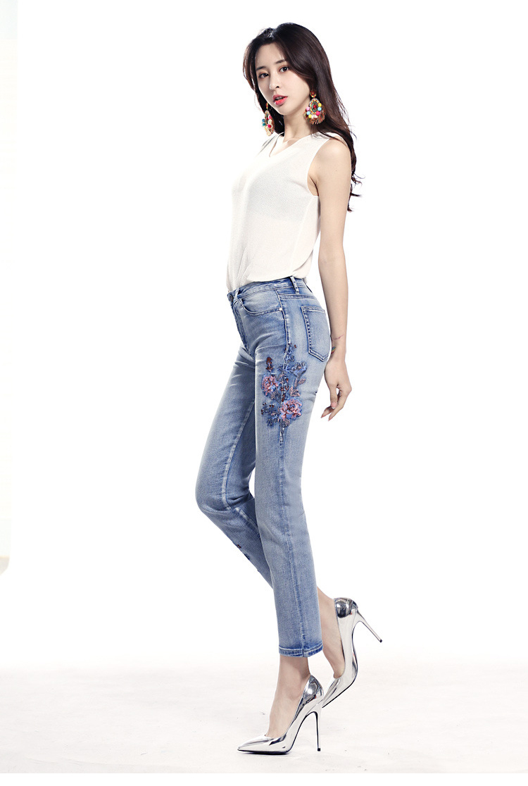 KSTUN FERZIGE high waist jeans women light blue stretch cropped pants embroidery flowers spring and summer jeans slim straight mujer 14
