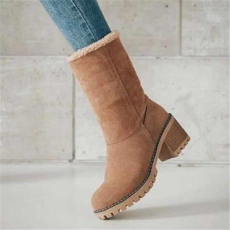 Новые женские ботинки зимние уличные теплые ботинки на меху водонепроницаемые женские зимние ботинки короткие ботинки на толстом каблуке с круглым носком