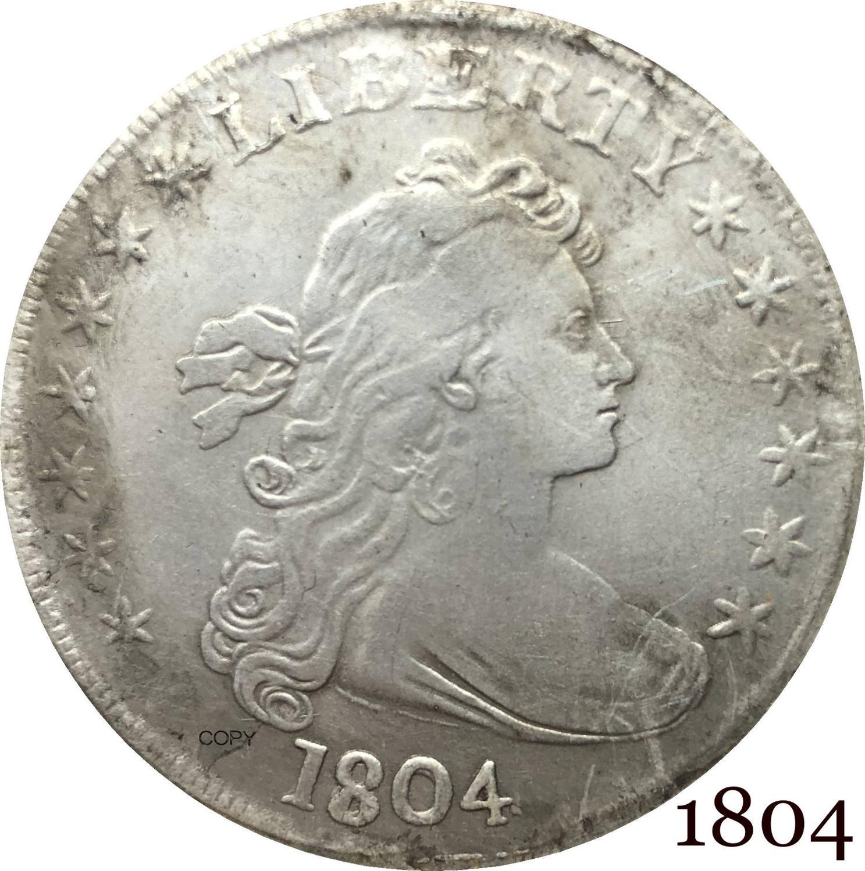 Американская американская монета 1804, с драпировкой бюста, один доллар, гералдический Орел, ледоникель, посеребренные копировальные монеты