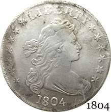 Estados unidos da américa moeda 1804 liberty broca busto um dólar, heraldic águia cupronickel prateado moedas de cópia