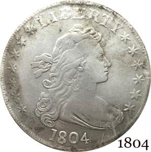 United States Of America Coin 1804 Liberty Draped Bust One Dollar Heraldic Eagle Cupronickel Silver Plated Copy Coins(China)
