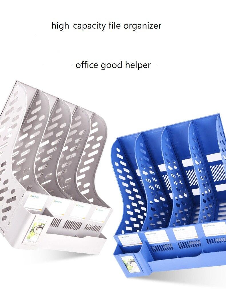 Многослойная стойка для файлов, утолщенный пластиковый настольный органайзер для документов, Студенческая книжная полка, держатель для канцелярских принадлежностей, коробка для хранения книг