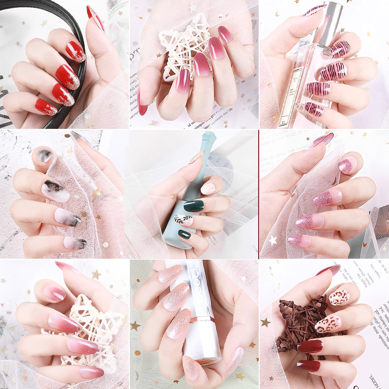 Fake Nails Tips Set Press On Nails With Design Full Cover for Artificial Decorate Short Long Coffin False nails Tips Sticker Kit