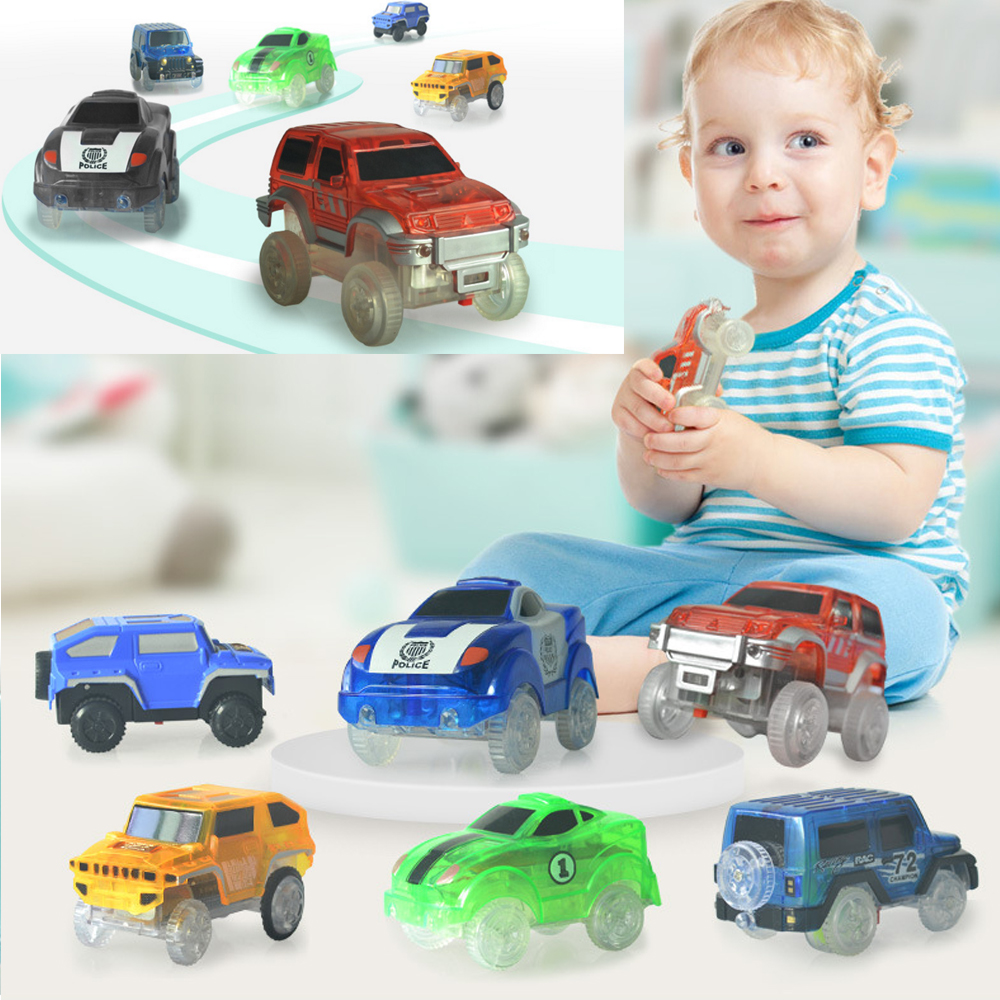 Flashing Light Electronic Vehicle Toy Car Magical Racing Glow Track Set Educational Block for Little Baby Kid Fun Playing Indoor