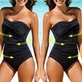 2021 neue Bikini Heißer Verkauf Badeanzug frauen einfarbig einteiliges bikini mit hinzugefügt gewicht und sex-appeal badeanzug Frauen