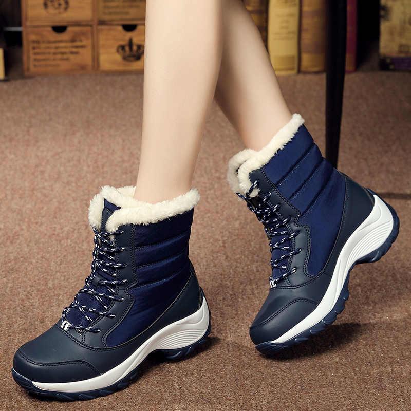 ผู้หญิงรองเท้ากันน้ำกันลื่นเด็กฤดูหนาวหนาขนสัตว์แพลตฟอร์มกันน้ำและอบอุ่นรองเท้า PLUS ขนาด 31-43