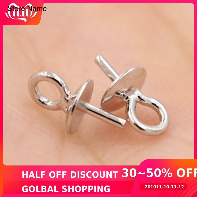 20pcs Genuine Real Pure Solid 925 Sterling Plain Silver Bead Cap Connectors For Pendants Earrings Cap Jewelry Findings Wholesale