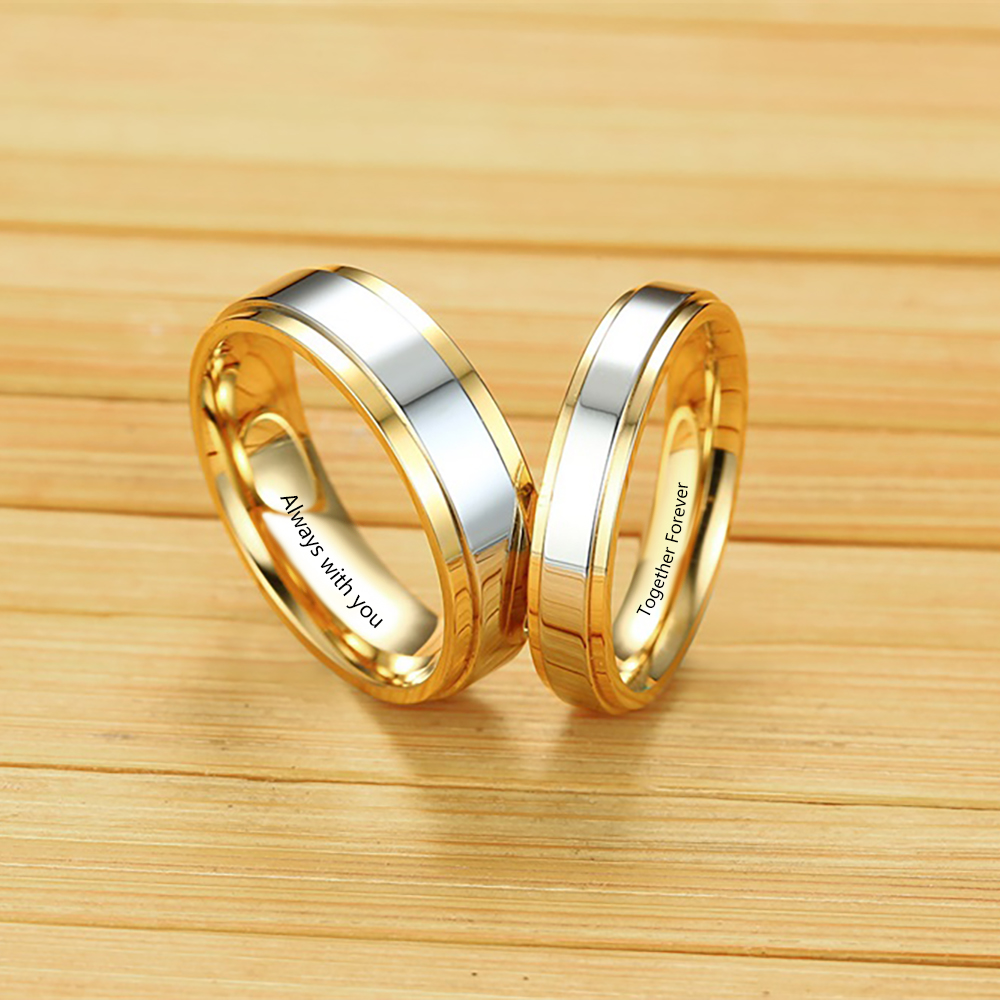 Engraving Stainless Steel Couple Ring Gold Plated Love Alliance Wedding Band Anniversary Ring For Men Women Promise Jewelry