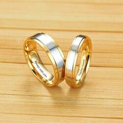 Gravür paslanmaz çelik çift yüzük altın kaplama aşk ittifak düğün Band yıldönümü yüzüğü erkekler kadınlar için Promise takı