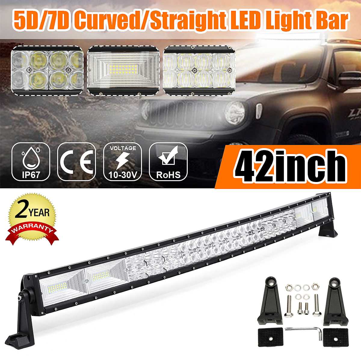 42 Inch 1400W 5D Curved LED Work Light Bar Combo Offroad Driving Lamp 6000K Waterproof LED Light Bar For SUV ATV Car Truck image